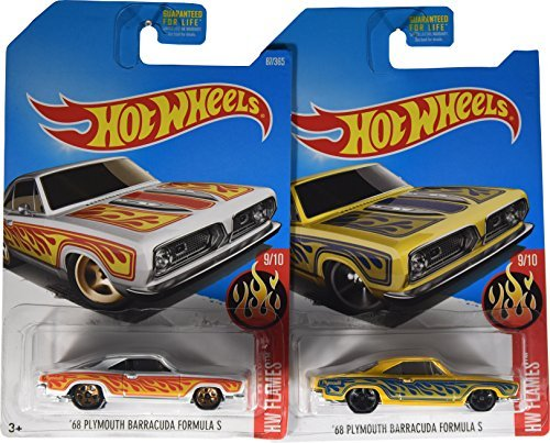 Hot Wheels 2017 HW Flames '68 Plymouth Barracuda Formula S 9/10, Set of 2 Cars: White & Yellow