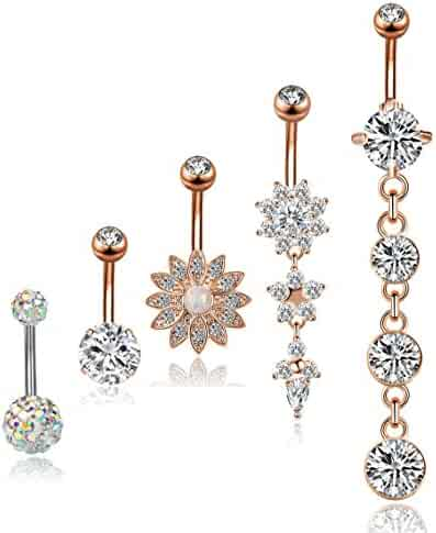 YOVORO 5PCS 14G 316L Stainless Steel Dangle Belly Button Rings for Women Navel Rings Curved Barbell Body Piercing