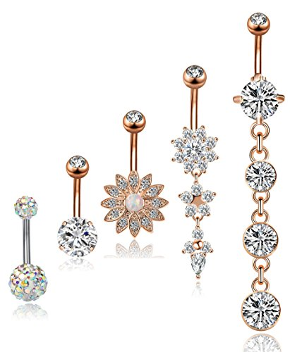 Body Piercing Belly Button - YOVORO 5PCS 14G 316L Stainless Steel Dangle Belly Button Rings for Women Navel Rings Curved Barbell Body Piercing R