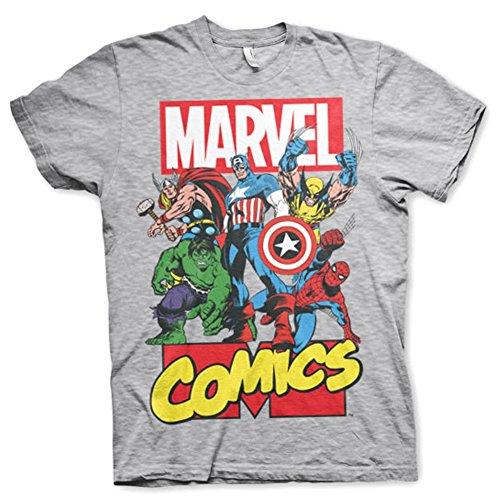 Marvel+Comics+Retro+Shirt Products : Official Mens Marvel Comics Superheroes Collage Grey T-Shirt - Loose Retro Hulk