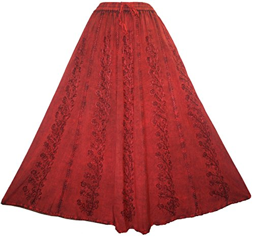 (Agan Traders 712 SK Medieval Embroidered Long Skirt (S/M, B. Red))