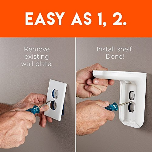 ECHOGEAR Outlet Shelf – A Space-Saving Solution For Anything Up to 10lbs – Built-In Cable Channel - Easy Install With Hardware Included - Ideal For Sonos and Smart Home Speakers - EGOS1 by ECHOGEAR (Image #5)