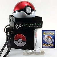 Pokemon Go Pokeball Power Bank | 12000mAh w 2 Charge Ports | Bundled w 1 Random Pokemon Card | 2nd Generation Pokeball Charger | by Nerd Notions