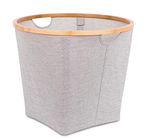 - BIRDROCK HOME Soft-Sided Round Storage Bins | Storage Organizers with Bamboo Rim | Grey