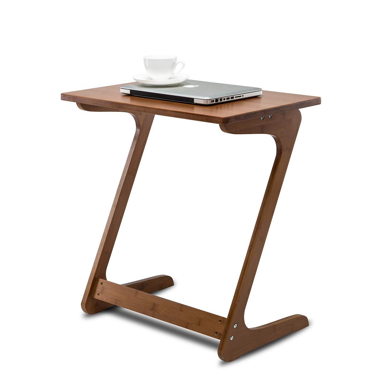 Nnewvante, vassoio per divano e tv, scrivania per laptop, tavolo laterale/snack/caffè, divano letto, adatto per mangiare, scrivere e leggere in salotto, colore castagno