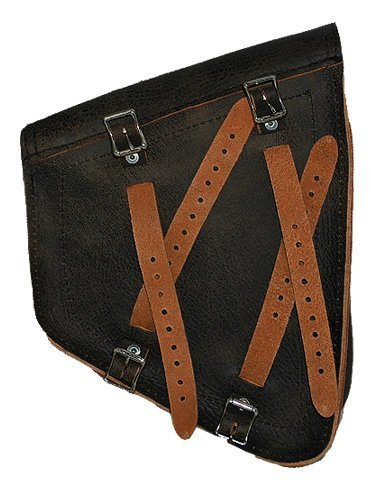 La Rosa Harley-Davidson Softail /& Rigid Vintage Style Rustic Black Leather Left Swing Arm Saddlebag