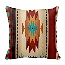 Tribal, Indian, Geometric, Brown Hue Custom Picture 18X18 Inch Square Cotton Decorative Throw Pillow Case Decor Cushion Covers