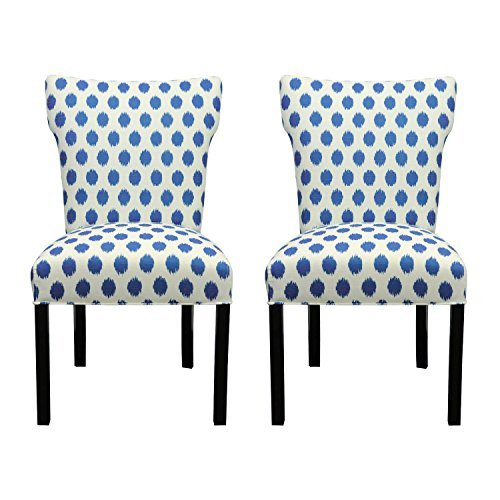 Sole Designs Bella Collection Modern Wingback Upholstered Dining Chair, Spring Seating Slipper/Side Chair, JoJo Series, Aqua Finish (Set of 2)