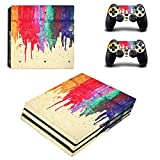 Chickwin PS4 Pro Vinyl Skin Full Body Cover Sticker Decal For Sony Playstation 4 Pro Console and 2 Dualshock Controller Skins (Color Paint)