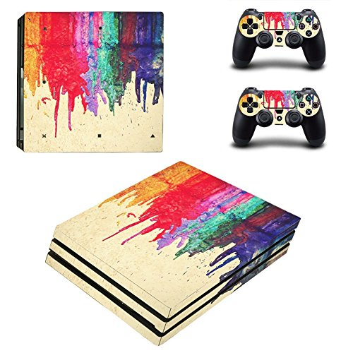 Price comparison product image Chickwin PS4 Pro Vinyl Skin Full Body Cover Sticker Decal For Sony Playstation 4 Pro Console and 2 Dualshock Controller Skins (Color Paint)