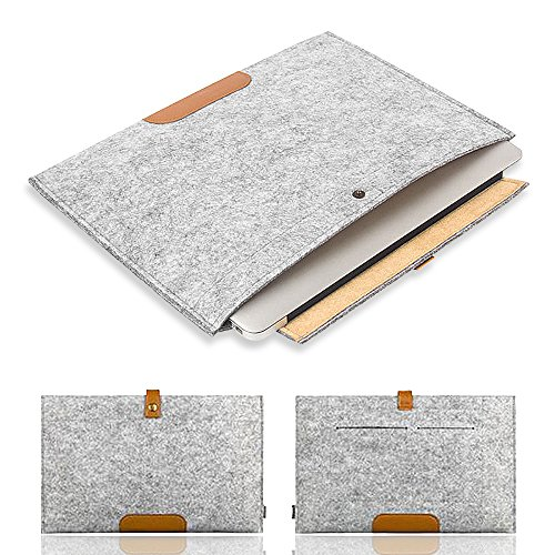 """Felt Wool Ipad - 13"""" Laptop Sleeve Case Bag, IC ICLOVER Protective Felt Case Cover for MacBook Pro/Air/Retina/iPad Pro/HP/Lenovo/Acer/Dell/Asus/Samsung Chromebook and More 13-13.3 Inch Laptops, Light Grey"""