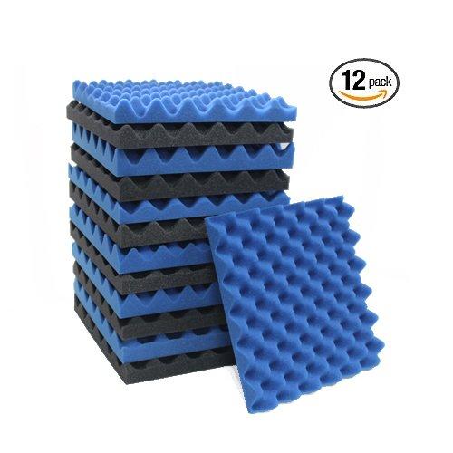 12 Pack Blue/Charcoal Eggcrate Acoustic Foam Sound Proof Foam Panels Noise Dampening Foam Studio Music Equipment 1.5'' x 12'' x 12''