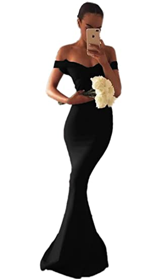 Promworld Womens Off The Shoulder Prom Dresses Long Mermaid Evening Gowns Black US2