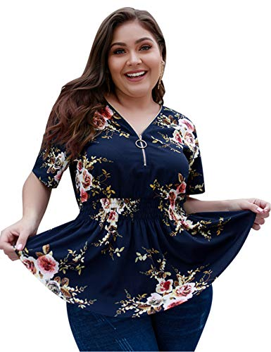 EverChic Women's Summer Plus Size Sexy Deep V Neck Pleated Half Sleeve Ruched Promenade Tops (Navy Floral, 4XL)