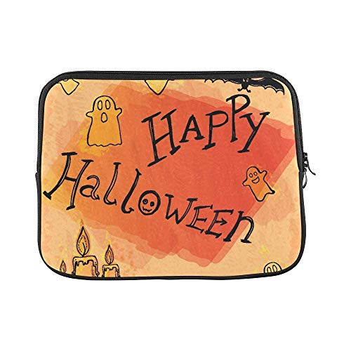 Mouno Neoprene Soft Pouch Cover, Briefcase Carrying Bag, Happy Halloween Doodles Sleeve Soft Laptop Case Bag Pouch Skin ()