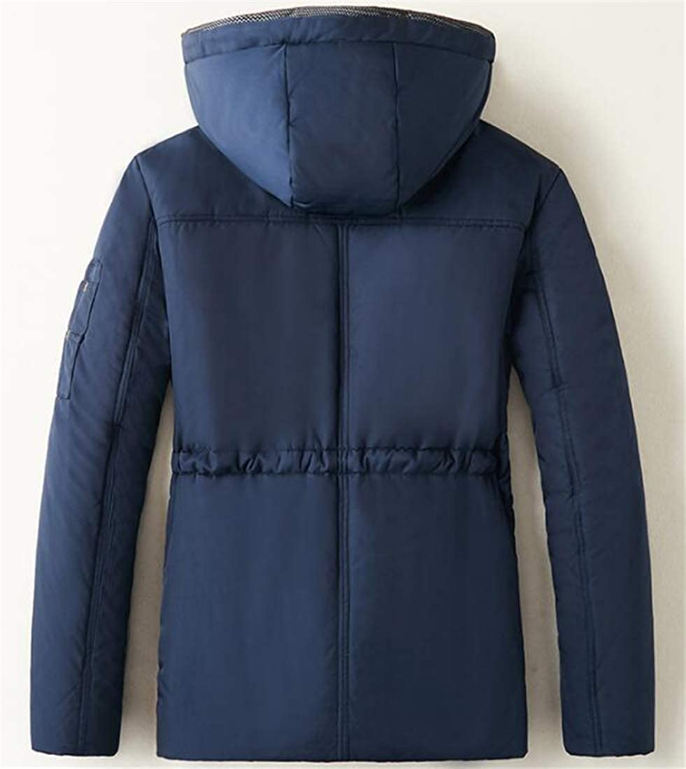 Domple Mens Winter Thicken Lined Drawstring Multi Pockets Hooded Warm Outwear Coat