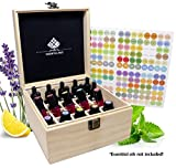 SXC 25 Slot Wooden Essential Oil Box/case, holds 25 5-5ml&10ml Roller Bottles, Perfect Essential Oil Storage/organizer Case For Travel and Presentation