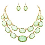 Rosemarie Collections Women's Oval Beaded Layered Statement Necklace Earrings Set (Mint)