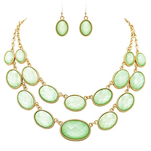 Rosemarie Collections Women's Oval Beaded Layered Statement Necklace Earrings Set (Casual Green Necklace)