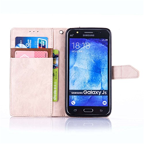 A9H Samsung Galaxy Core Prime SM-G360 SM-G360F (4,5 Zoll) Funda View Cover Cáscara Flip PU Piel Book Style Magnética Función de Soporte Protective Case Protectora per Samsung Galaxy Core Prime SM-G360 10brown+gold