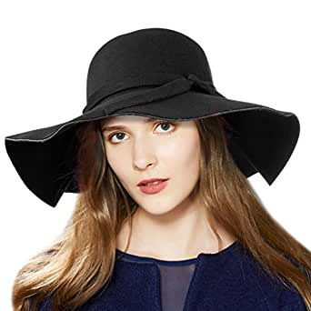VBIGER Fashion New Women Vintage Wool Round Fedora Cloche Cap Wool Felt Bowler Hat (Black 2)