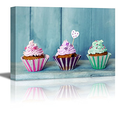 Canvas Prints Wall Art - Three Colorful Cupcakes/Icecream | Modern Wall Decor/Home Decor Stretched Gallery Canvas Wraps Giclee Print & Ready to Hang - 16