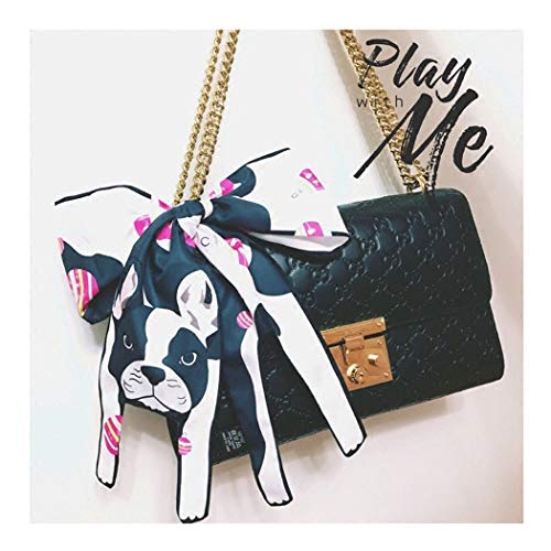 Hair Scarf For Women Silk Scarf Ribbon For Bags Tote Bag Cross Body Handbags Handle Colorful Dog