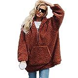 iBaste Women Hoodie Faux Wool Sweatshirt Fleece Pullover Loose Sweater Girl Tops Plus Size
