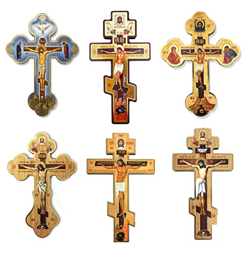 Sef of 6 Wooden Icon Wall Crosses Crucifixion of Christ Make your Cross Prayer Corner 8 Inch