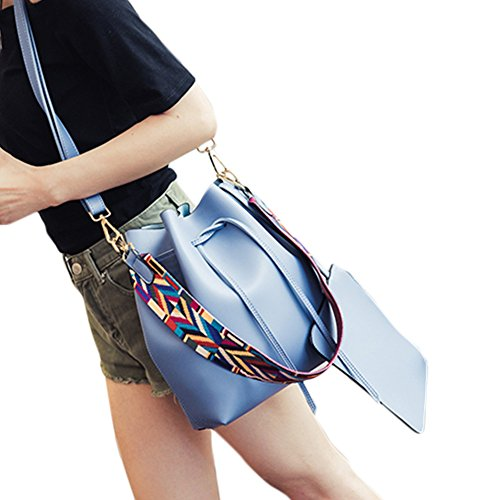 Handbag Drawstring Fashion NiNE CiF Women Bag Tote Bucket Retro Shoulder Blue 1SZAfwqI