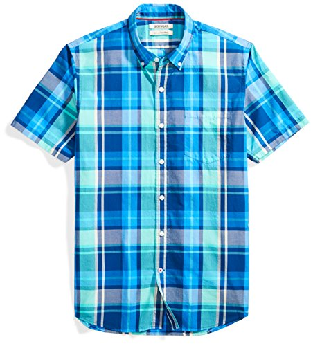 Goodthreads Men's Slim-Fit Short-Sleeve Large-Scale Plaid Shirt Shirt, Blue/Aqua, (Aqua Blue Short Sleeve Shirt)