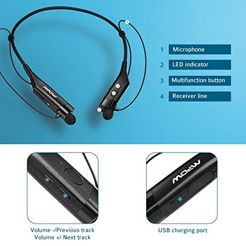 mpow bluetooth headphones v4 1 vibrating call alert wireless neckband headset. Black Bedroom Furniture Sets. Home Design Ideas