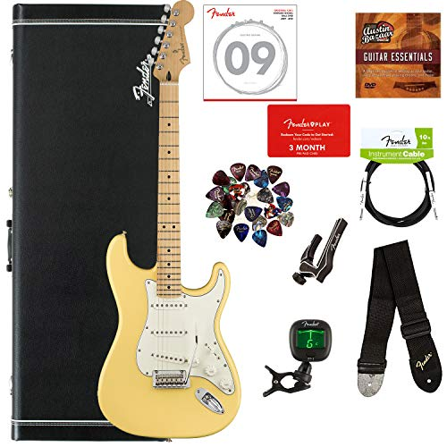 - Fender Player Stratocaster, Maple - Buttercream Bundle with Hard Case, Cable, Tuner, Strap, Strings, Picks, Capo, Fender Play Online Lessons, and Austin Bazaar Instructional DVD