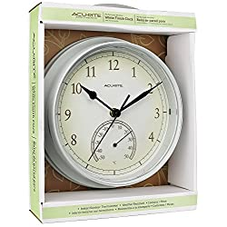 Acurite Indoor Outdoor Weather Resistant Wall Clock With Thermometer 9.25 Inch