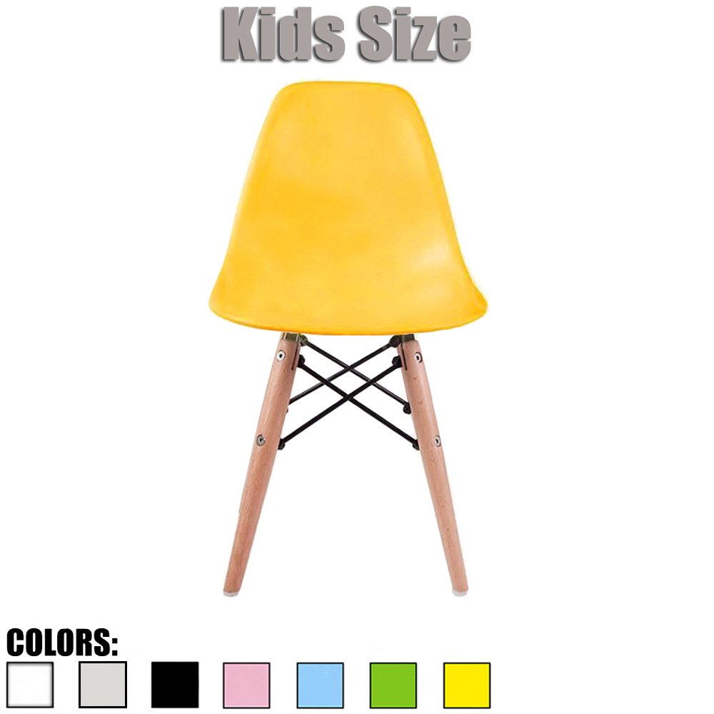 2xhome - Yellow - Kids Size Eames Side Chair Eames Chair Yellow Seat Natural Wood Wooden Legs Eiffel Childrens Room Chairs No Arm Arms Armless Molded Plastic Seat Dowel Leg