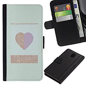 All Phone Most Case / Oferta Especial Cáscara Funda de cuero Monedero Cubierta de proteccion Caso / Wallet Case for Samsung Galaxy Note 3 III // Gold Teal Heart Minimalist Clean