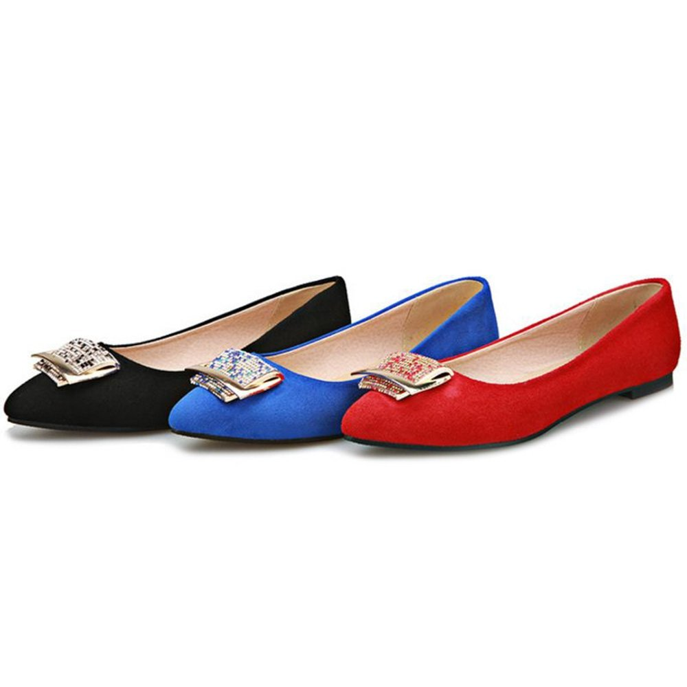 Smilice Women Flats with Pointed Toe Comfortable Shoes with Mini//Plus Size