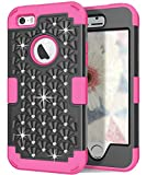 5s cute protective cases - Hocase iPhone 5s Cute Case with Sparkly Glitter Bling Rhinestones Hybrid Dual Layer Protective Hard Back Cover+Silicone Bumper for Apple iPhone 5/5s/SE - Black / Deep Pink