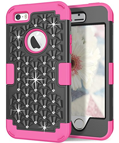 Hocase iPhone 5s Cute Case with Sparkly Glitter Bling Rhinestones Hybrid Dual Layer Protective Hard Back Cover+Silicone Bumper for Apple iPhone 5/5s/SE - Black / Deep Pink (Rhinestones Pink Cover)