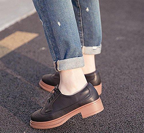 croûte chaussures en chaussures avec épaisses en dascenseur UK4 épais EU36 muffins cuir Mme Spring à US6 Mme des CN36 chaussures qwtPx8P0