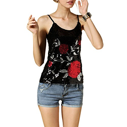 Hoohu Womens Boho Summer Sexy Glitter Sequin Floral Print Sleeveless Tank Top Cool Camisole Casual Vest T-Shirt (Glitter Top Print)