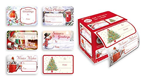 (150 Self Adhesive Christmas Gift Labels Tags Traditional Designs Xmas Santa Cute)