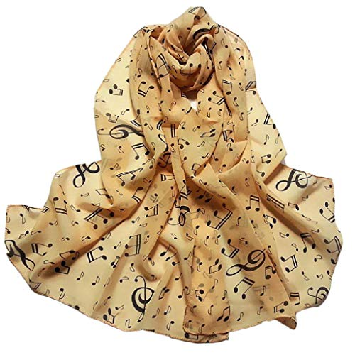 UONQD 1PC Women Lady Musical Note Chiffon Neck Scarf Shawl Muffler Scarves(15650cm,Beige) -