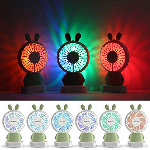 RingRingshop®® Handheld Small Fan Portable Rechargeable Mini Cooling Fan Multi-color LED Light Linglong rabbit Fan Standable Hanging Fan Gifts for Home Travel Indoor Outdoor Baby Kids (Green Rabbit) by RingRingshop® (Image #3)
