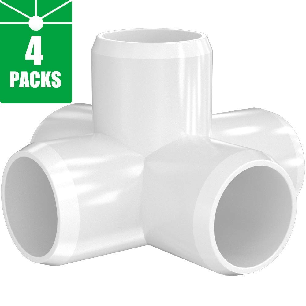 5-Way 1 inch PVC Fitting,Tee Pipe Fittings PVC Connectors - Build Heavy Duty Furniture Grade for 1 inch Size Pipe,White [Pack of 4]