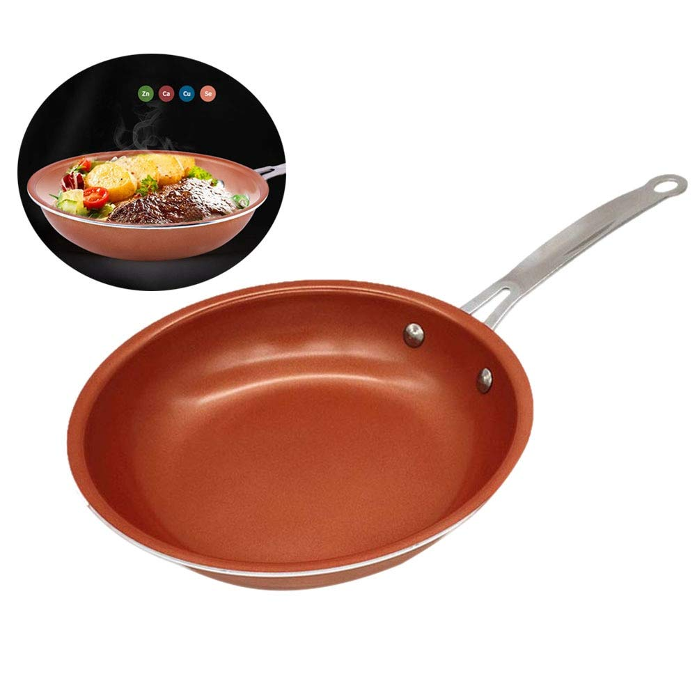 Pans - 9.4 Inch Non Stick Frying Pan Copper Style Aluminium Alloy Pans With Ceramic Coating Dishwasher Oven - Stick Skillet Greenlife Large Ceramic Dish Cooker Electric Cuisinar