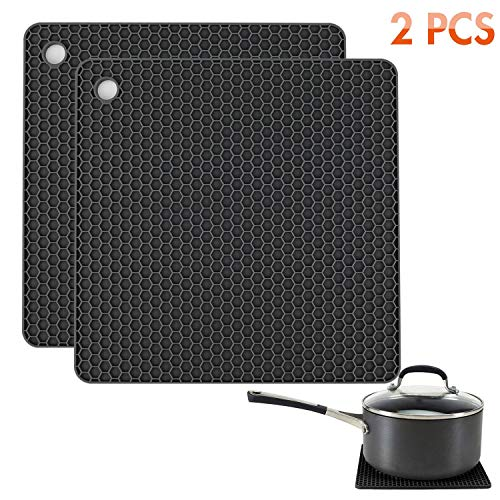Tonmidej Silicone Pot Holders 2 Pack, Silicone Hot Pads, Heat Insulation Table Mats For Family Use - HB-GJD/Black/2 Pcs ()