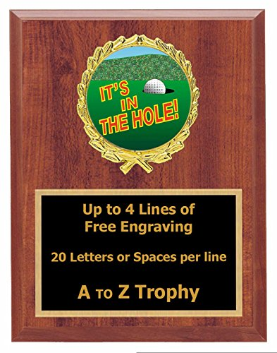 Golf Plaque Trophy 5x7 Wood Sports Golfing Tournament Trophies Awards Free Engraving