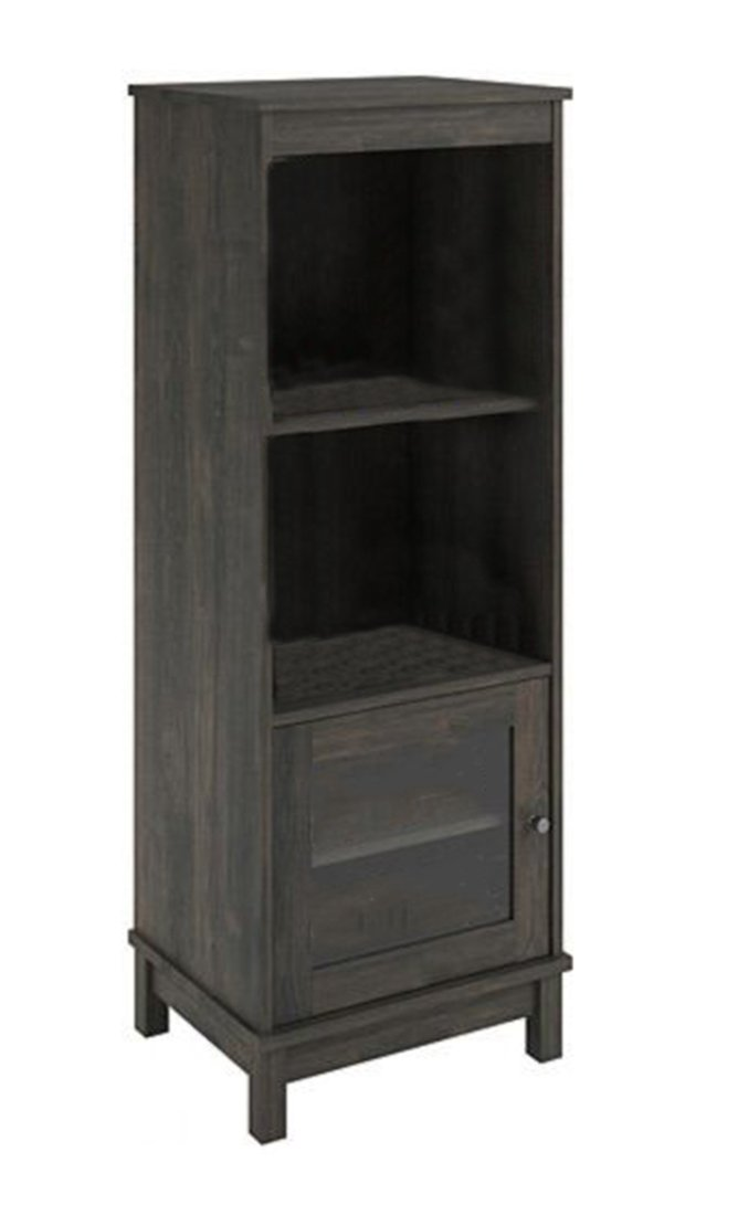 Zeckos Wood Bookcases Audio Pier Side Tower Cabinet Entertainment Center W/ 3 Shelves Gray Oak Finish 19.7 X 54 X 15.7 Inches Gray B+G SALES INC. 4332799957