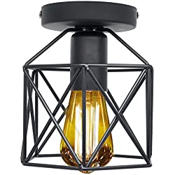 Vintage Light Fixtures Ceiling Flush Mount Industrial Antique Lighting Mini Rustic Metal Wire Cage Pendant Lamp for Hallway